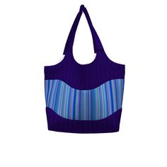 Betz White Smile & Wave Tote made with Spoonflower designs on Sprout Patterns. This smile and wave tote uses karenspix's purple & black technogeeky design for the body and trim with floramoon's Serenity Stripes on the exterior pockets.