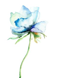Watercolor Decorative Blue Flower Painting