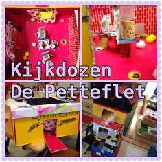 """Kijkdozen """"de Petteflet"""". Elk kind maakt een kijkdoos van een appartement van een van de bewoners van de Petteflet."""