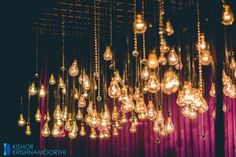 Bulb and crystal hangings - Looks so beautiful for a Sangeet  or Reception decor