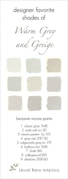 Use to help create the perfect space with these trendy greige paint colors. Nine Fabulous Benjamin Moore Warm Gray Paint Colors - laurel home Benjamin Moore Paint, Benjamin Moore Edgecomb Gray, Benjamin Moore Classic Gray, Collingwood Benjamin Moore, Benjamin Moore Balboa Mist, Dining Room Paint Colors Benjamin Moore, Benjamin Moore Abalone, Benjamin Moore Bedroom, Wall Colors