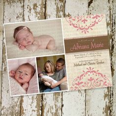 girl birth announcements, christening or baby shower invitation, shabby pink, digital, printable file (item 435)