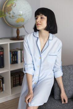 koszula nocna niebieska lunaby.pl blue classic nightdress