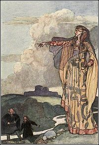 Macha - Celtic goddess of war, part of the triple goddess known as the Morrigna along with Badb and the Morrigan or Anu.  Known as a crow goddess she would fly over battlefields with her sisters and choose who would live or die then take the souls of the deceased to the otherworld.