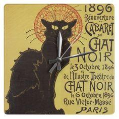 Chat Noir Cat Clocks