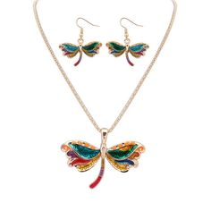 New Arrival Insects Pendant Necklace Epoxy Dragonfly Gold Jewelry Sets