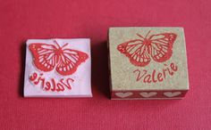 Personalized hand carved stamp.