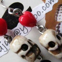 Bone Skull And Delicate Glass Heart Earrings by jansbeads on Etsy, $10.00