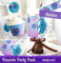 - Peacock Feather Party Kit - Editable / Custimizable pdf - Printable diy - Personal Use Only Party Kit, Art Party, Party Packs, First Birthday Parties, First Birthdays, Birthday Ideas, Peacock Birthday Party, Create Labels, Chocolate Bar Wrappers