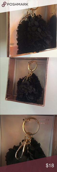 LC Lauren Conrad key chain black Pom Pom Rose Gold Brand new in box Rose Gold key chain. Light weight and super pretty in person! NWT LC Lauren Conrad Accessories Key & Card Holders