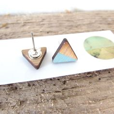 Shop for on Etsy, the place to express your creativity through the buying and selling of handmade and vintage goods. Photo On Wood, Wood Print, Laser Cutting, Bamboo, Triangle, Jewelry Making, Teal, Stud Earrings, Hand Painted