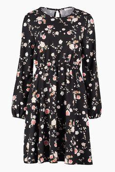 Floyd by Smith Celina kjole svart blomster rose mønster hverdagskjoler - Floyd.no