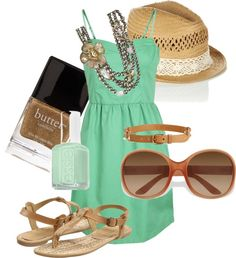 """casual aqua-and-tan"" by rishalife on Polyvore"