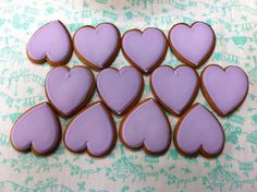 Lavender Iced Gingerbread Hearts - for wedding favours made by Ayesha Corcoran