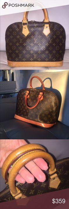 💯Authentic Louis Vuitton Alma PM hand bag doctor Vintage, pre-owned in a good condition. Leather bottom, handles, and trims have scratches, dirty stains and turned into a honey patina. Monogram canvas is still intact. No rips, no tears. Zipper works a little rusty. Interior is clean, interior pocket is perfect. Measurements:  12.6W x 9.4H x 6.7D - Made in France in October, 1994 - Date code: VI1904 - 100% Authentic Louis Vuitton Bags Satchels