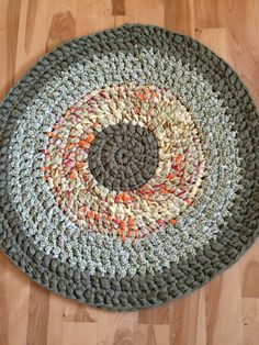 Crochet rag rug green and orange rug cottage by BlueCottageRugs