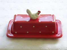 Butter Dish With Chicken / Hen / Rooster Knob - 2 Piece -  Red and White Polka Dots - New, Pottery -  USA Made on Etsy, $16.99