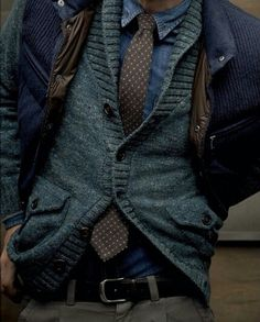 Loving the chambray shirt with the polkadot tie... and the cardi too!