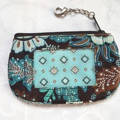 Vera Bradley Java Blue Zip ID holder Case Coin Change Purse Keyring Compact #VeraBradley #IDcase