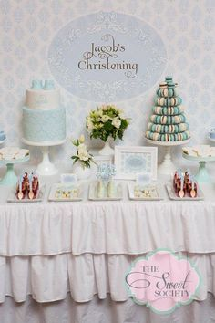 Baby Boy Baptism or Christening Party Baby Christening Cakes, Christening Decorations, Baby Girl Christening, Baptism Dessert Table, Baptism Desserts, Godchild Gift, Boys First Communion, Birthday Themes For Boys, Baby Dedication
