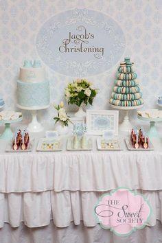 Baby Boy Baptism or Christening Party Baptism Desserts, Baby Boy Christening, Christening Cakes, Baptism Party, Baptism Ideas, Baby Dedication, Party Printables, Baby Boy Shower, Damask