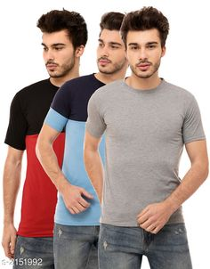 Tshirts Trendy Men's Cotton Blend Tshirts ( Pack Of 3) Fabric: Cotton Blend Sleeves: Half Sleeves Are Included Size: S M L XL (Refer Size Chart)  Length: Refer Size Chart Fit: Regular Fit Type: Stitched Description: It Has 3 Pieces of Men's T-Shirts Pattern: Solid Country of Origin: India Sizes Available: S, M, L, XL   Catalog Rating: ★4.1 (474)  Catalog Name: Stylish Trendy Men's Cotton Blend Tshirts Combo Vol 12 CatalogID_285522 C70-SC1205 Code: 934-2151992-