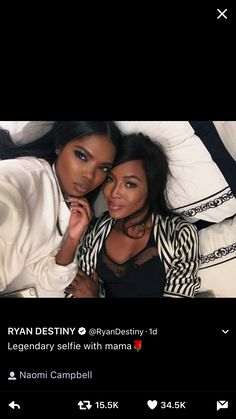 Ryan destiny&Naomi Campbell✨ @blackgirlsvault for more celebration of Black Beauty, Excellence and Culture♥️✊