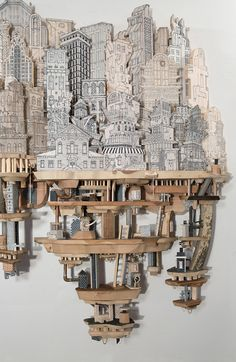 Impossible City Sculptures of Luke O'Sullivan Cardboard City, Cardboard Sculpture, Cardboard Crafts, Sculptures Céramiques, Sculpture Art, Architectural Sculpture, Toy Art, A Level Art, Art Plastique