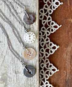 Display of Mother of Pearl Button Pendants