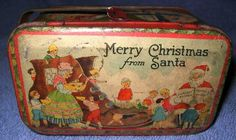 icollect247.com Online Vintage Antiques and Collectables - Merry Christmas Tin Mother Goose Nursery Rhymes 1910-20