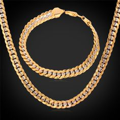 Buy Classic Cool Stamp Unisex Two Tone Gold Plated Curb Chain Necklace Bracelet Set Fashion jewelry Accessories Gifts MGC at Wish - Shopping Made Fun Cute Jewelry, Jewelry Sets, Jewelry Accessories, Men's Jewelry, Jewelry Watches, Beaded Choker Necklace, Necklace Set, Gold Necklace, Men's Fashion Jewelry