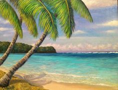 Tropical beach Original Oil Painting, seascape, pacific ocean,sky, clouds, palm trees, sandy beach, on Etsy, $135.00