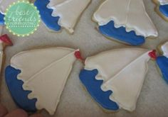 Sail boar decorated sugar cookies.  Perfect for a beach party!  I used these for my son's baby shower.