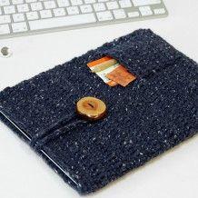 Blue tweed iPad case with pocket
