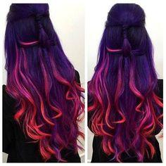 Hair styles - How To Get Sunset Hair – Hair styles Cute Hair Colors, Hair Dye Colors, Cool Hair Color, Wild Hair Colors, Cool Hair Dyed, Dark Hair With Color, Rainbow Hair Colors, Hair Color Ideas, Vivid Hair Color