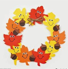 11 All craft kit pieces are pre-pac… Foam Smile Face Leaves Wreath Craft Kit. 11 All craft kit pieces are pre-packaged for individual use. Kits include instructions and extra pieces. Leaf Crafts, Fun Crafts, Color Crafts, Couronne Diy, November Crafts, Thanksgiving Crafts For Kids, Autumn Crafts For Kids, Thanksgiving Decorations, Fall Crafts For Preschoolers