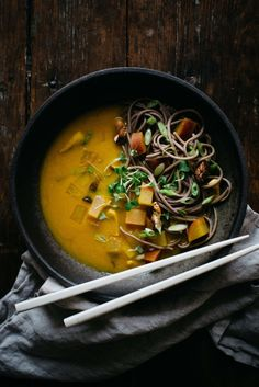 Turmeric-Miso Soup w/ soba, shiitakes + turnips | dolly and oatmeal