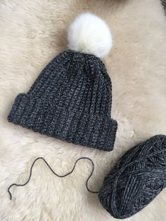 Grey Crochet Toque with Faux Fur Pom Pom / Crochet Slouchy Beanie / Gray Winter Hat / Crochet Toque / Fur Pompom by FFFabuknits on Etsy