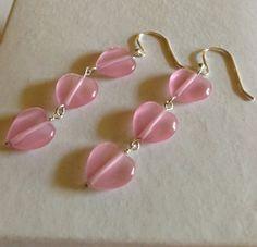 Silver heart earrings,pink heart earrings,heart earrings,silverbymaggie,silver earrings,gifts for her,fashion jewelry,valentine jewelry by SilverByMaggie on Etsy