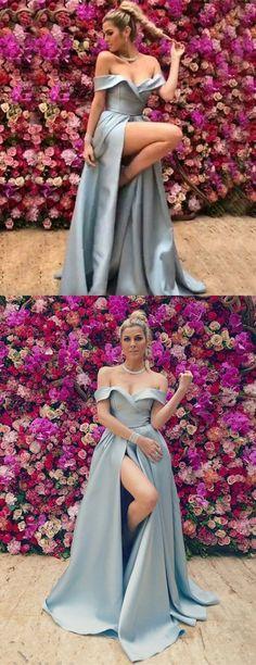 A-Line Off the Shoulder Sleeveless Split Front Light Blue Satin Prom Dress