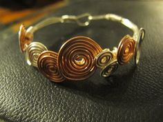 Bracelet silver copper wire wrapped bangle by Naomirabinowitz, $20.00
