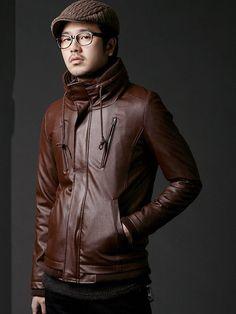 Popular Mens Brown Faux Leather Jacket S/M/L @6284BR