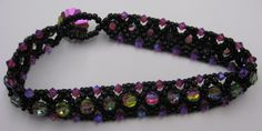 Beaded Cross Stitch Bracelet made with vintage Swarovski crystals by Cheryl Erickson.  Instructions and kits available in lots of other colors from www.artisticbead.com Vintage