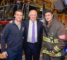 Chicago Fire: Casey and Severide (aka Jesse Spencer and Taylor Kinney) hangin' with the Governor of Illinois.