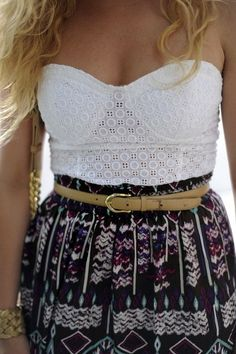 Lace top high waist flare jean or patterned skirt with skinny belt