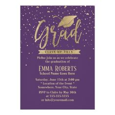Hats off to the graduate nursing graduation party card custom modern violet gold confetti graduation party card solutioingenieria Image collections
