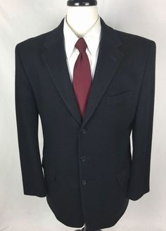 NEIMAN MARCUS Blazer Mens 42 Black 100% CASHMERE 3 Button Sport Coat Jacket 42L…