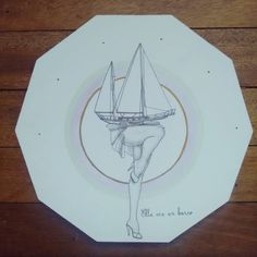 """ Ella era un barco "" posa calientes, pieza única #Himallineishon #homedecor #illustration #art #boat #handpainted"