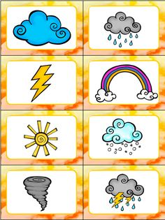 "Weather Slap It! Card Game This Weather Slap-it Card Game is great for teaching kids weather words! Slap It! is based on the traditional card game ""Slap Jack"" and the kids LOVE slapping all the words and pictures as they learn about the weather! Weather For Kids, Weather Activities For Kids, Teaching Weather, Preschool Weather, Preschool Science, Science Activities, Teaching Kids, Preschool Kindergarten, Weather Symbols For Kids"