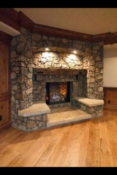 Awesome stone fireplace to sit at